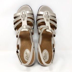Clark's Beige Leather Ankle Strap Sandal sz 12
